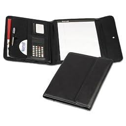 Professional Tri-Fold Padfolio w/Calculator, Writing Pad, Vinyl, Black, Sold as 1 Each