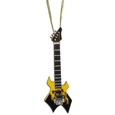 Miniature Yellow Flame Warlock Electric Guitar Christmas Ornament