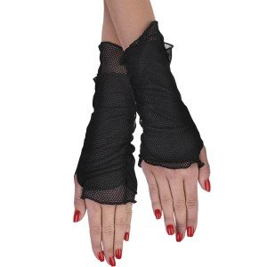 Fishnet Glovelettes-Black / One Size