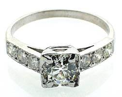 Antique 1.33 ct tw Diamond Platinum Engagement Ring