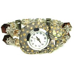 Yellow Austrian Rhinestone and Beads Kitty Cat Silver-Tone Watch Bracelet