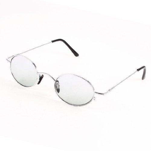 Silver Tone Metal Full Frame Gray Lens Sunglasses Glasses For Men
