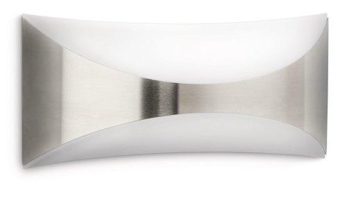 Philips Seedling Lampada da Parete da Esterno, Rettangolare, Curva Up & Down, Acciaio Inox, Lampadina Inclusa