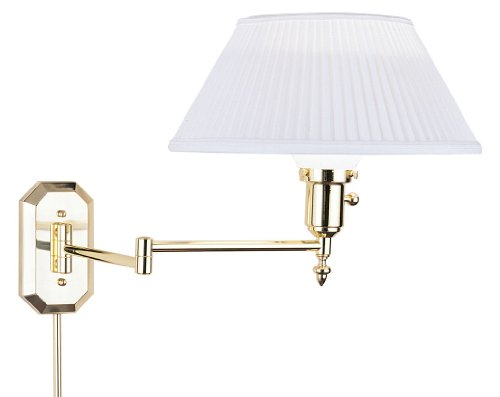 House Of Troy Ws-704 12-Inch Swing Arm Wall Lamp, Polished Brass With White Pleated Softback Shade front-996421