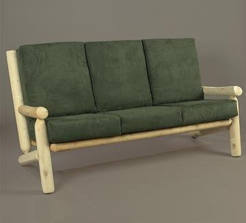 "66"" Natural Northern Cedar Indoor Sofa Couch with Green Cushions"