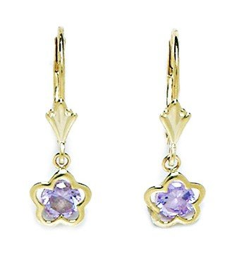 14ct Yellow Gold June Birthstone Lt-Purple 5x5mm CZ Flower Drop Leverback Earrings - Measures 24x8mm