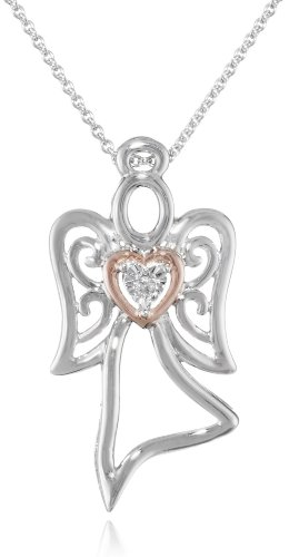 """14K Rose Gold Plated Sterling Silver Diamond Accent Angel Pendant Necklace ( I-J Color, I2-I3 Clarity), 18"""""""