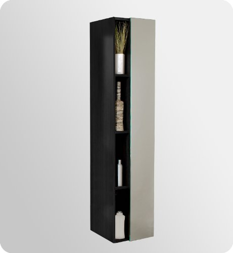 bathroom linen cabinet with four narrow storage shelves and