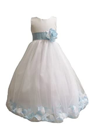 Classykidzshop Rose Petals Special Occasion Dress - 2T White/Baby Blue