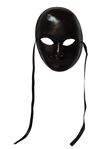 Black Full Face Paper-Mache Venetian Carnival Mardi-Gras Mask Wall Decoration
