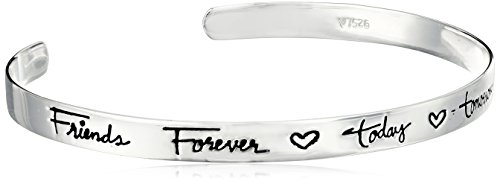 "Sterling Silver ""Friends Forever Today Tomorrow Always"" Cuff Bracelet, 6.5"""