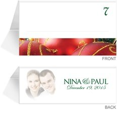 90 Photo Place Cards - Christmas Ornaments
