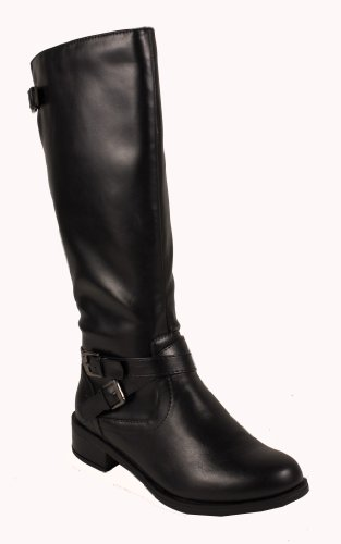 Bio! By Soda Knee-High Riding Boots With Buckles Detailing, Black Leatherette, 9 M