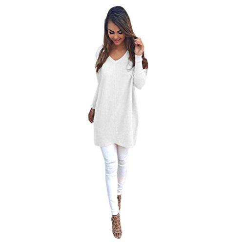 EKIMI Womens Casual Loose Long Sleeve V-Neck Jumper Sweaters Coat Blouse (M, White)