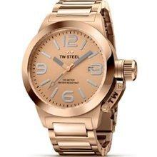 TW Steel Canteen Style bracelet TW-303 - Reloj analógico de cuarzo para mujer, correa de acero inoxidable chapado color oro rosa