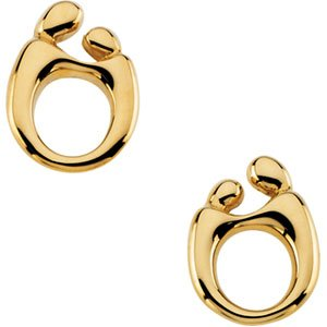14k Yellow Gold Mother and Child Post Earring