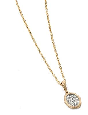 Elements Gold Ladies 9ct Yellow Gold Irregular Textured Oval Pendant with Pave Diamonds with Chain of Length 46-51cm
