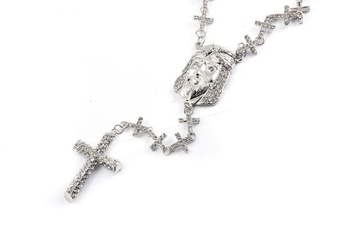 New! Iced Out Cross Linked Chain Rosary w/Pave Jesus SILVER