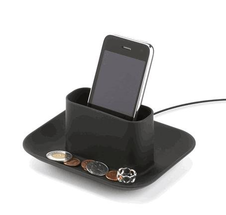 Mobi Cell Phone Ipod Mp3 Player Charging Station Coin Dish Black