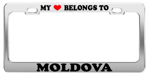 MY HEART BELONGS TO MOLDOVA License Plate Frame