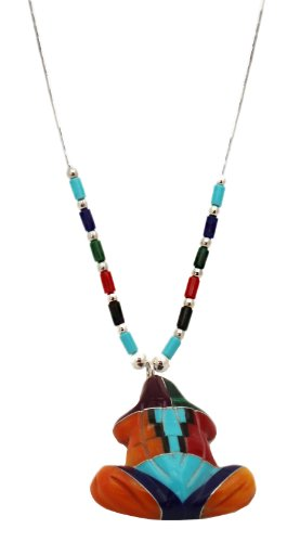 Southwest Frog Multicolor Multistone Pendant on Liquid Silver Necklace 18