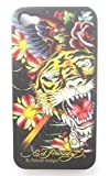 Textured Flowered Black Tiger Design Ed Hardy Hard Case Back Cover For Iphone 4 4S