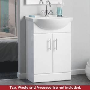 550w white gloss bathroom vanity basin sink 550mm cloakroom storage cabinet