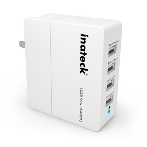Inateck® 4-Port 30W Compact Usb Wall Charger (5V 2.4A X 2 & 5V 1A X 2) Usb Portable Charger All-In-One Travel Charger For Iphone, Kindle, Ipad, Ipod, Smartphones, 5V Tablets, Bluetooth Speakers And Other Usb-Powered Devices