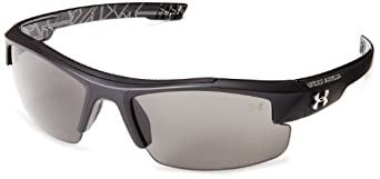 Under Armour Nitro L Youth Sunglasses,Satin Black Exterior,Shiny Black Interior & Silver Battle Print,125 mm