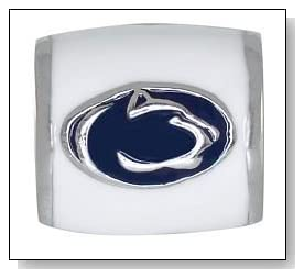 PENN STATE Nittany Lions White Logo 925 Silver European College Charm Bead