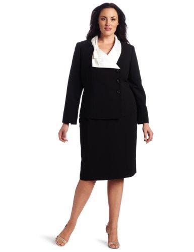 Lesuit Women's Plus-Size Contrast Bow Collar Skirt Suit