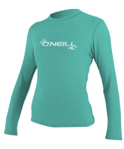 O'Neill Wetsuits Women's Basic Skins Long Sleeve Rash Guard T-Shirt, Light Aqua, X-Small