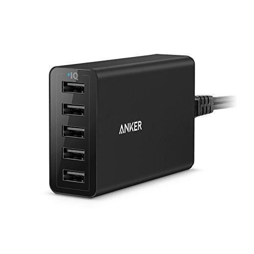 Anker Caricatore USB da tavolo 5 Porte 40W PowerPort 5 - Alimentatore multi-porta ultra-compatto con Tecnologia PowerIQ per iPhone, iPad, Samsung, Nexus, HTC, Nokia, Motorola e molti altri