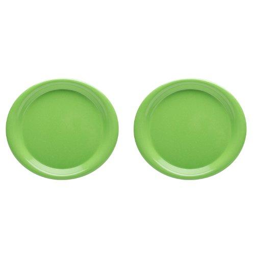Zak Designs Zakwave Microwave-Safe Dinner Plate, Palm Green, Set Of 2