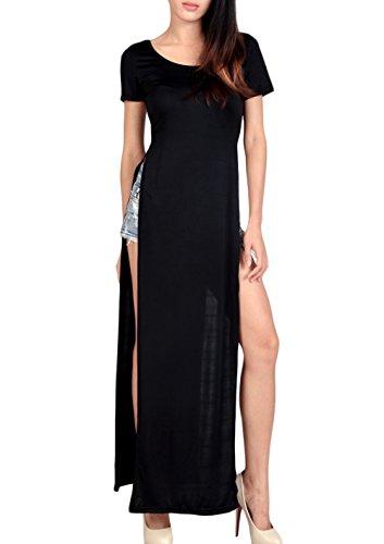 JT Women Racer Back Muscle Tee Vest Double Side Split Cutout Maxi Dress (Maxi Double Split compare prices)