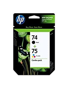 HP 74XL & HP 75XL Tricolor Inkjet Cartridges in Foil Packaging-Black