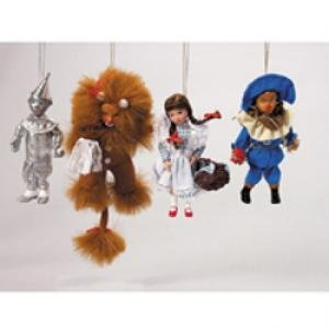 Wizard of Oz Vintage 5″ Porcelain/Cloth Christmas Ornaments (Set of 4)