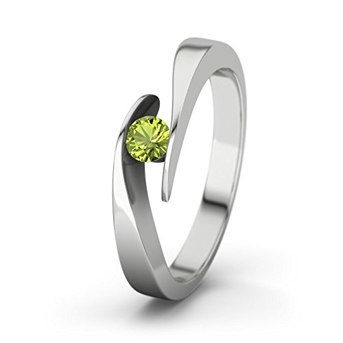 21DIAMONDS Women's Ring Summertime Peridot Round Brilliant Cut Engagement Ring, 18ct White Gold Engagement Ring