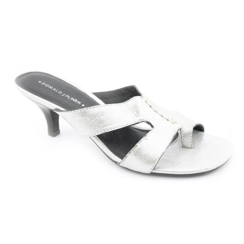 Donald J Pliner Vonna 3 Womens SZ 10 Silver Slides Sandals Shoes