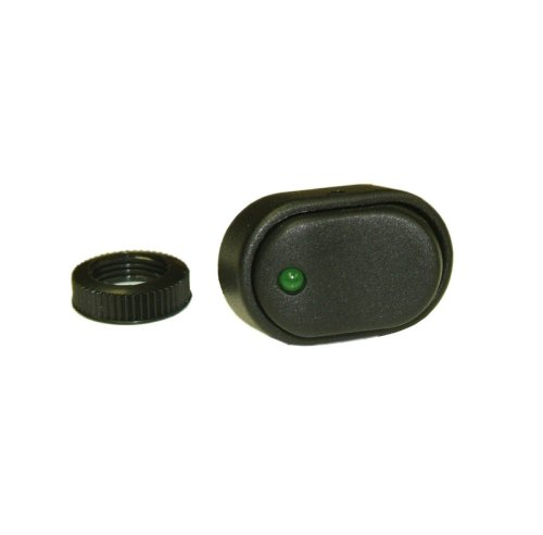 Kc Hilites 3116 30 Amp Oval Rocker Switch W/ Green Led Indicator