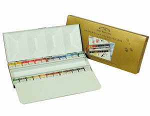Winsor  &  Newton 24 Half Pan Assorted Water Colour Paints In a Heavyweight Enamelled Box
