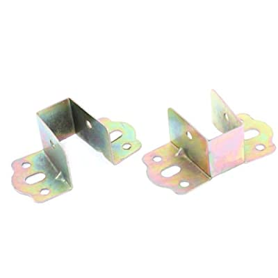 OnlineGroceryStore(TM) Bed Metal U Angled Bracket Bronze Tone 80 x 40 x 30mm 2Pcs