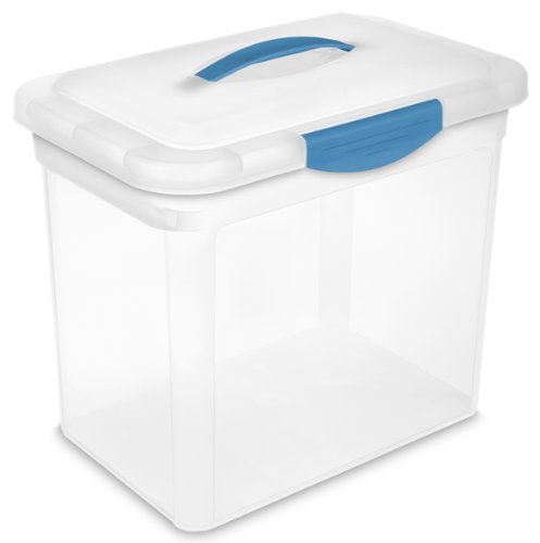sterilite-18968606-large-showoffs-storage-container-clear-lid-base-with-blue-aquarium-handle-latches