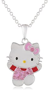 Hello Kitty Fine Silver Plated Crystal Enamel Pendant Enhancer