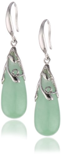 Sterling Silver, Green Jade Teardrop Fish Hook
