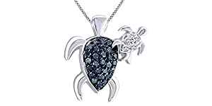 Enhanced Blue and White Diamond Motherly Love Turtle Pendant in 14K White Gold Over Sterling Silver (1/4 cttw)