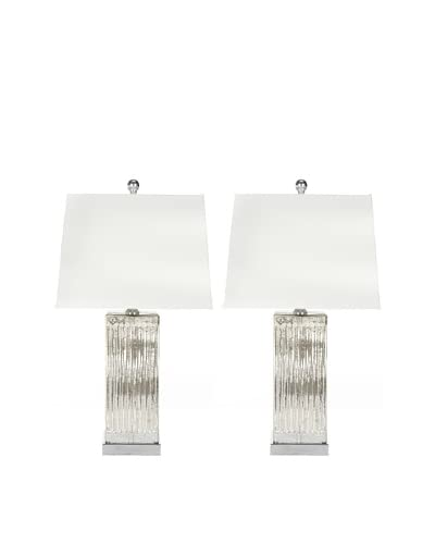 Safavieh Rock Crystal Set of 2 Table Lamps, Silver/Clear