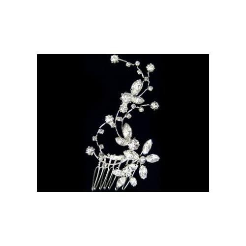 Rhinestone Flower Hair Comb 2327