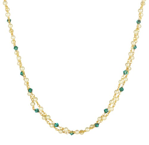 Gold Plated Sterling Silver Zircon Crystallized Swarovski Elements Bicone Bead and White Freshwater Cultured Pearl 2-Row Necklace