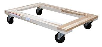 "Vestil HDOF-2436-12 Flush Deck Hardwood Dolly, 1200 lbs Capacity, 36"" Length x 24"" Width x 6-3/4"" Height Deck"